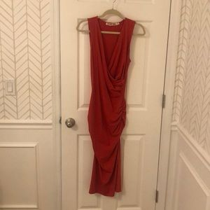 Michael Stars Red Cotton Fitted Dress